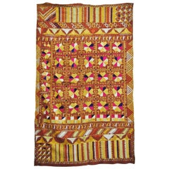 Silk Embroidered Vintage Phulkari Wedding Shawl, Punjab, India