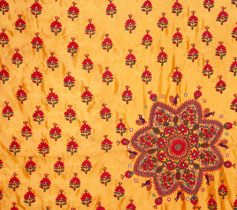 Tribal Silk Embroidery from Gujarad, India, Early 20th Century For Sale