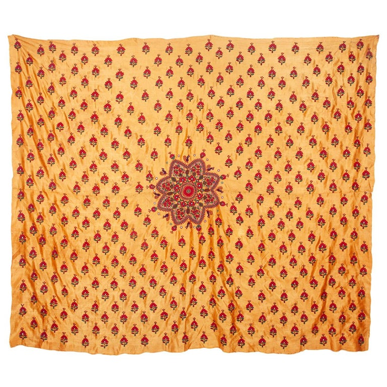 Silk Embroidery from Gujarad, India, Early 20th Century For Sale