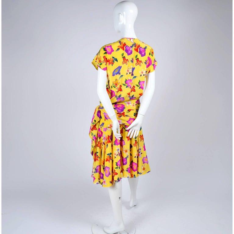 Silk Escada Dress In Yellow Fl Print By Margaretha Ley Size 8 10 For