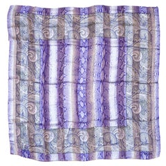 Silk Escada Scarf Purple - Paisley Snake Print New, Never worn -1990's
