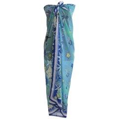 Silk Escada  Scarf Wrap, Beach cover Shawl 1980s 53 x 54 New, unworn