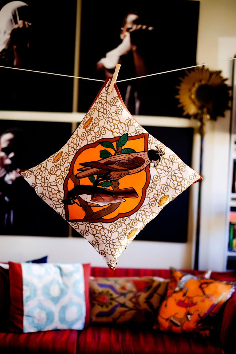Other Silk Falcon Arabesque Pillow For Sale