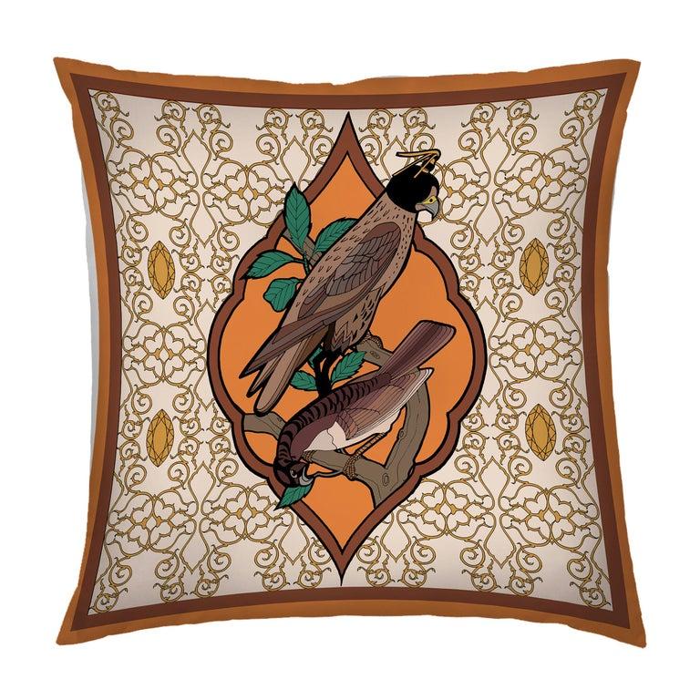 Silk Falcon Arabesque Pillow For Sale