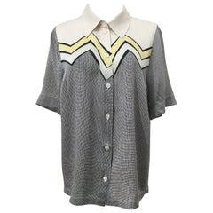 Silk Graphic Pattern Print Boyish Shirt Circa 1970s