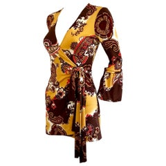 Silk jersey Boho Sydney printed wrap dress FLORA KUNG