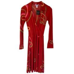 "Silk Jersey Mock Wrap Red ""Guimauve"" print dress with detachable cord belt NWT"