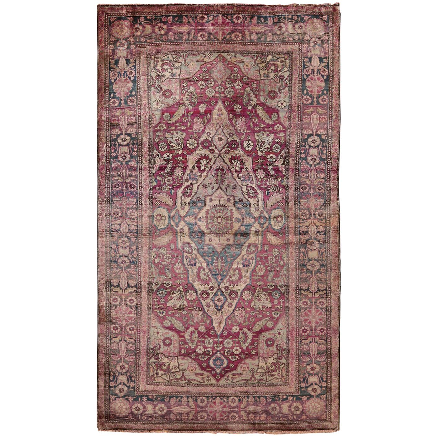 Silk Kashan Mohtashem Antique Persian Rug