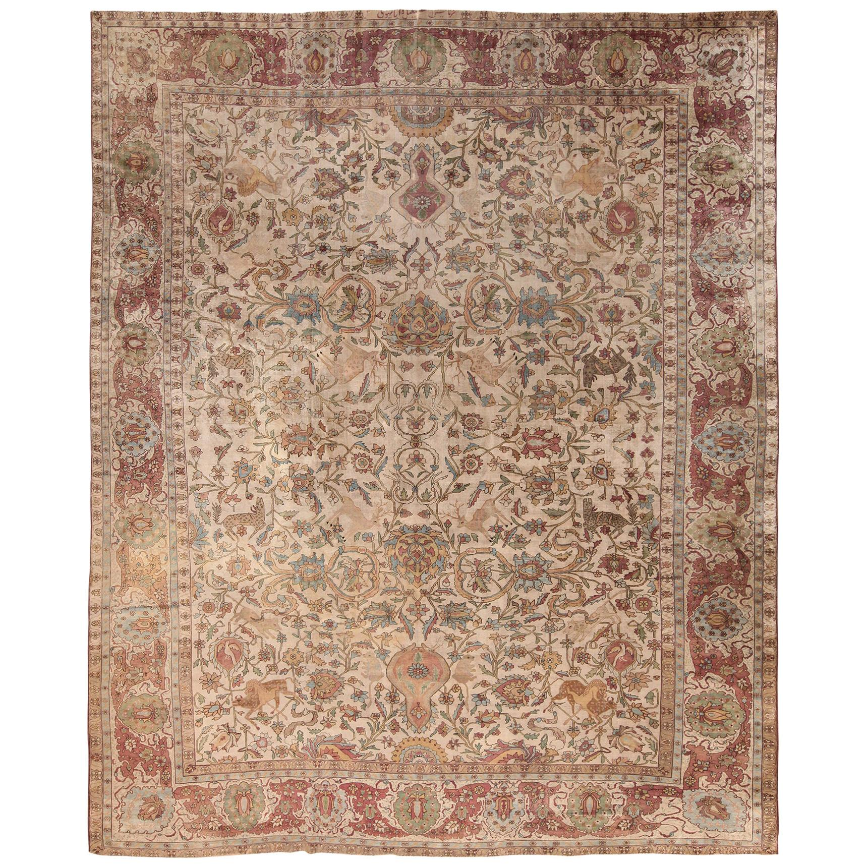 Silk Kashan Mohtashem Antique Persian Rug. Size: 10 ft. 7 in x 13 ft. 2 in