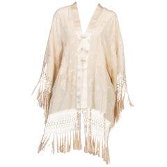 Silk Kimono Made From Antique 1920s Embroidered Silk Fringe Piano Shawl