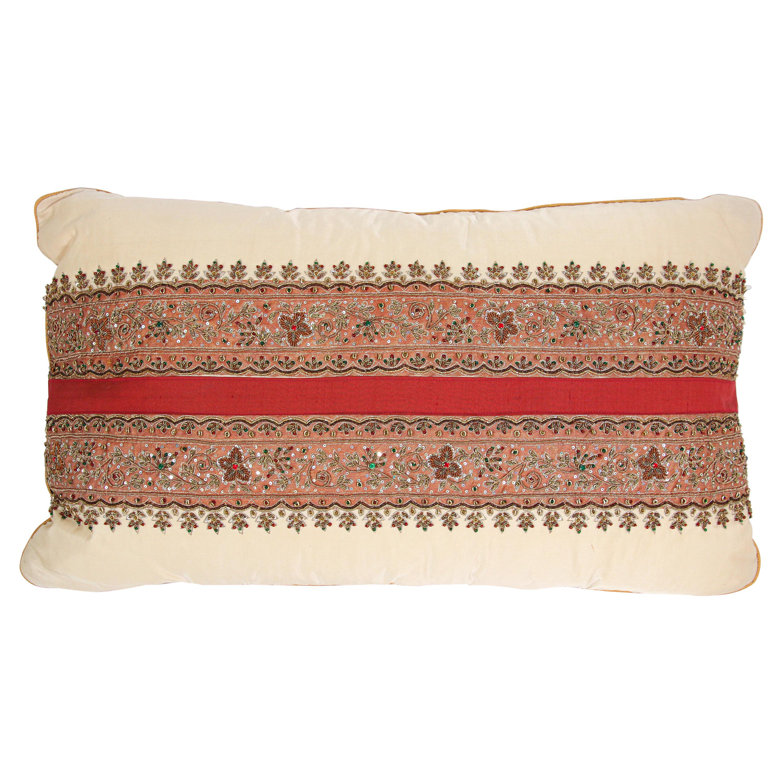Silk Lumbar Pillow Embellished with Beads, India