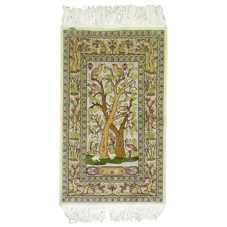 Hereke Silk Rug Youtube: Silk Metallic Turkish Hereke Pictorial Rug For Sale At 1stdibs