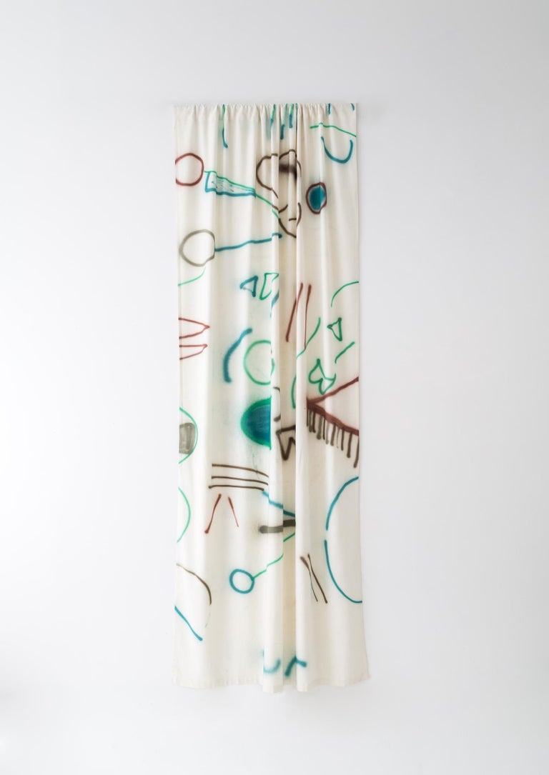 Naomi Clark paints abstract, vibrant, compositions on silk noil using just three colors of silk paint and a spray gun tool. Sold by the yard (36