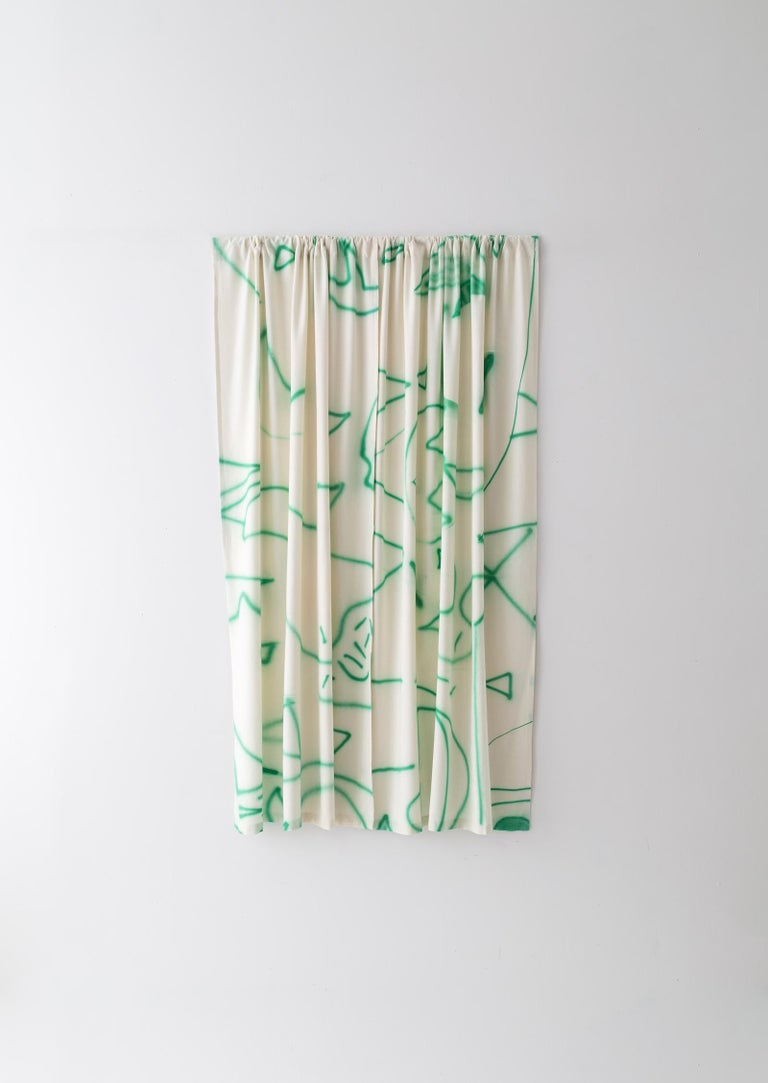 American Silk Noil Hand-Painted Green Lines Curtain Fabric Yardage For Sale