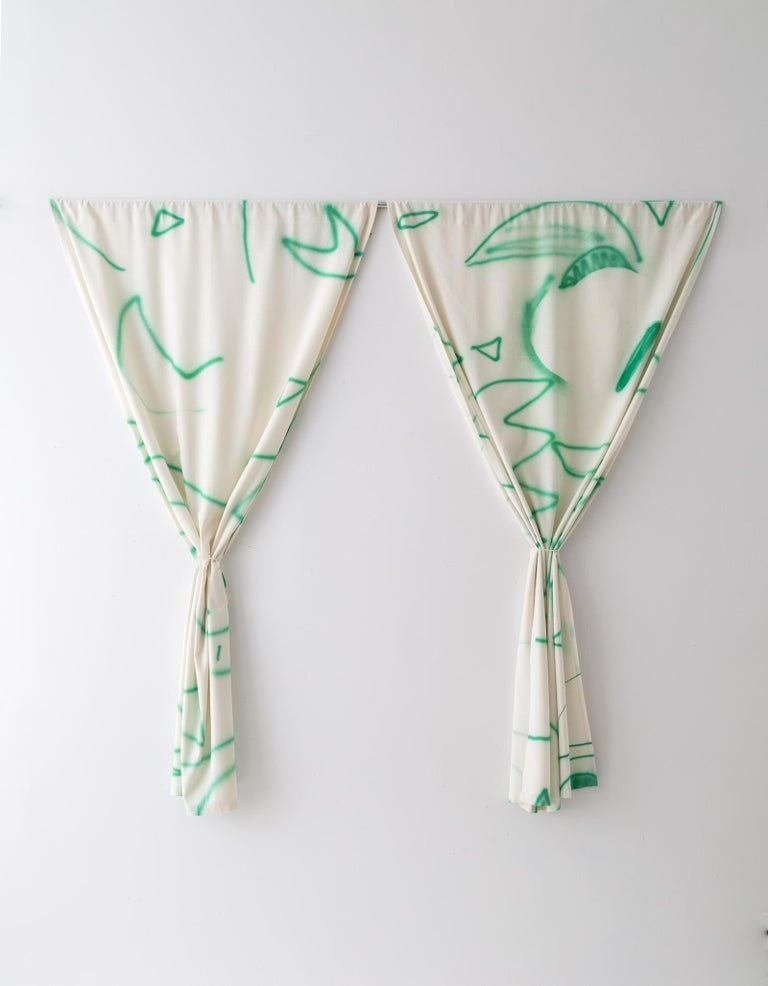 Silk Noil Hand-Painted Green Lines Curtain Fabric Yardage In New Condition For Sale In Brooklyn, NY
