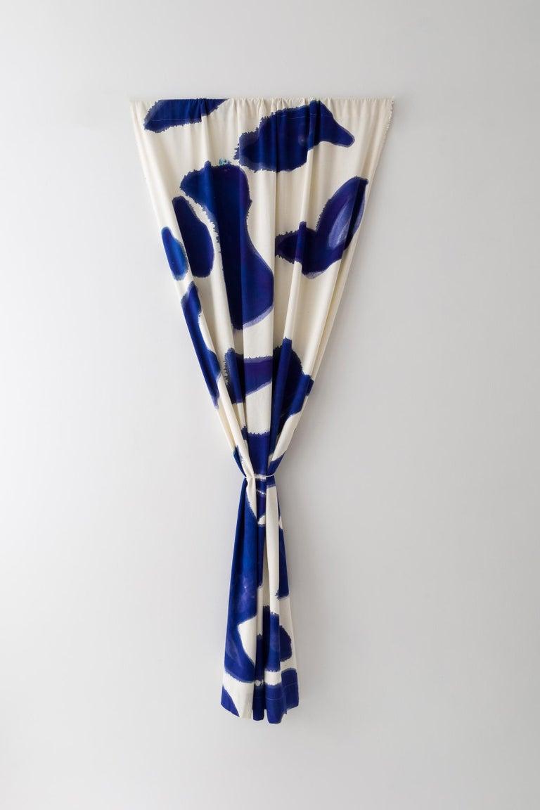 American Silk Noil SingleHueHand-Painted BlueAmoeba Curtains Fabric Yardage For Sale