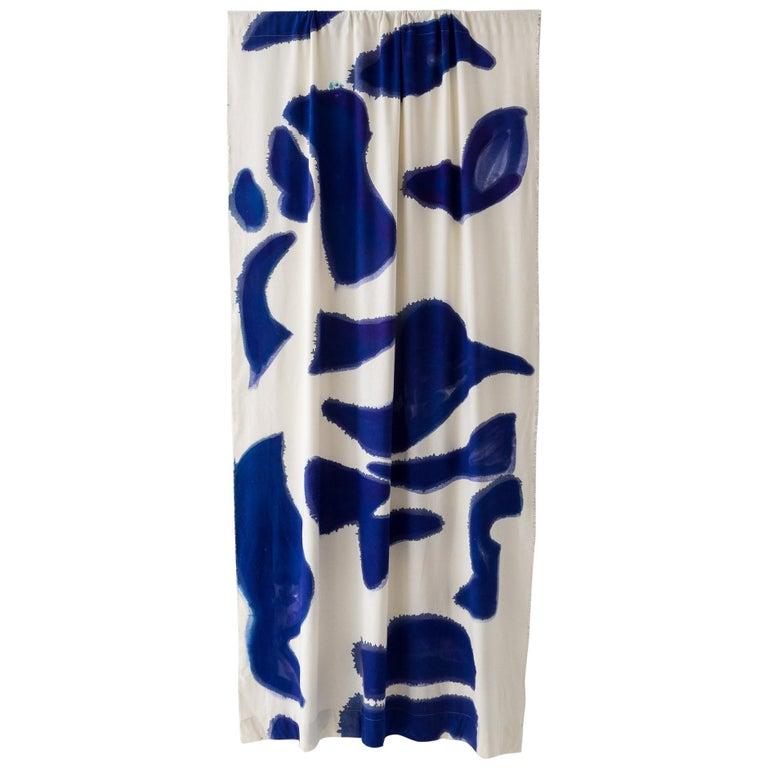 Silk Noil SingleHueHand-Painted BlueAmoeba Curtains Fabric Yardage For Sale