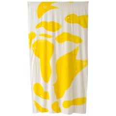 Silk Noil Single Hue Hand-Painted Yellow Amoeba Curtains Fabric Yardage