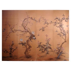 Silk Painted Panel with Flowers and Birds Decor, Japanese Work, circa 1900