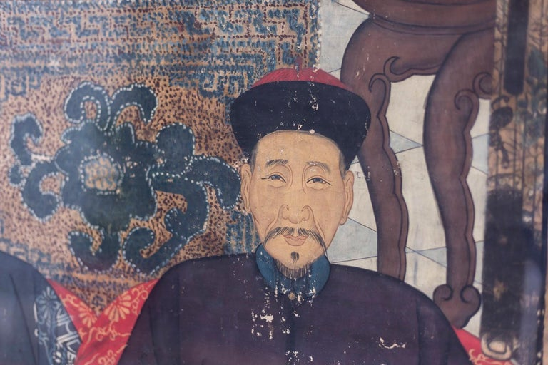 Asian Silk Painting Figuring Chinese Dignitaries, End of 19th Century For Sale