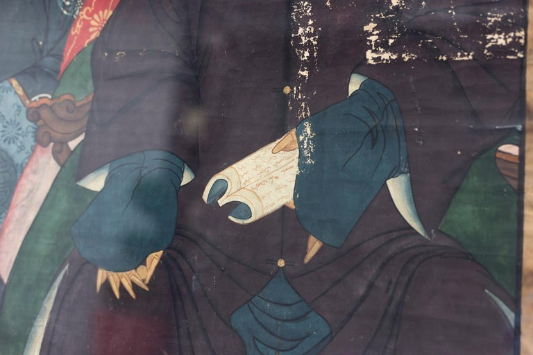 Hand-Painted Silk Painting Figuring Chinese Dignitaries, End of 19th Century For Sale