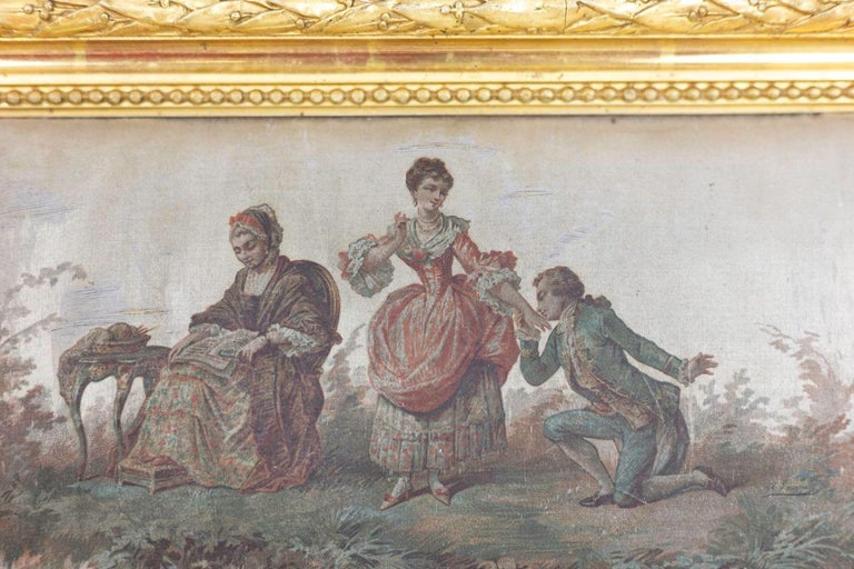 European Silk Painting, Romantic Scene, 19th Century For Sale