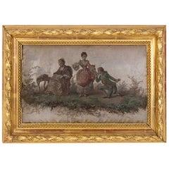 Silk Painting, Romantic Scene, 19th Century
