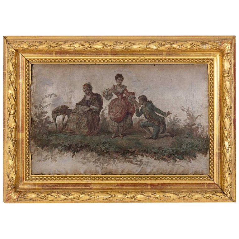 Silk Painting, Romantic Scene, 19th Century For Sale