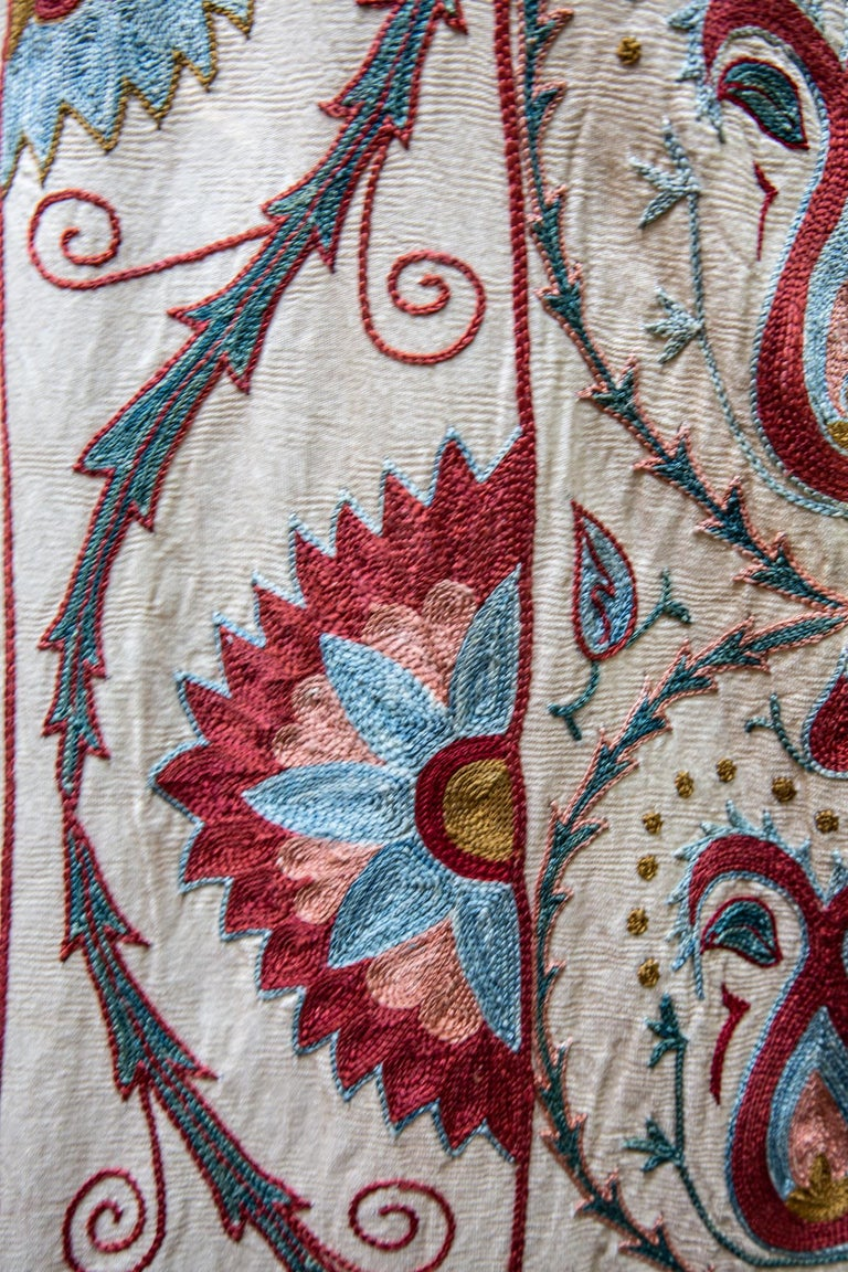 Embroidered Silk Paisley Pomegranate Suzani For Sale