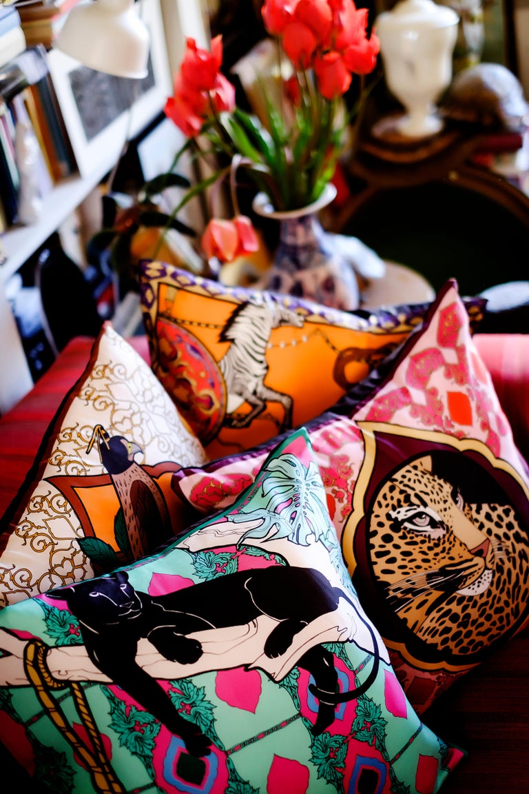 Other Silk Panther Arabesque Pillow For Sale
