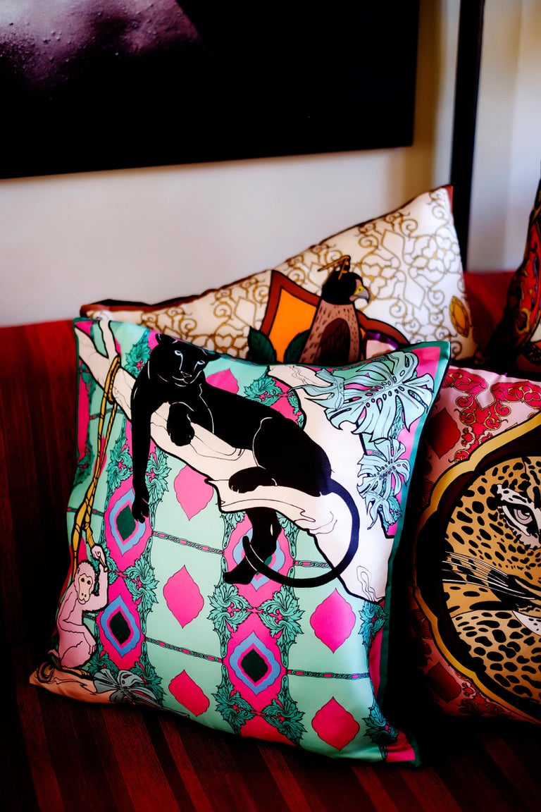 Italian Silk Panther Arabesque Pillow For Sale