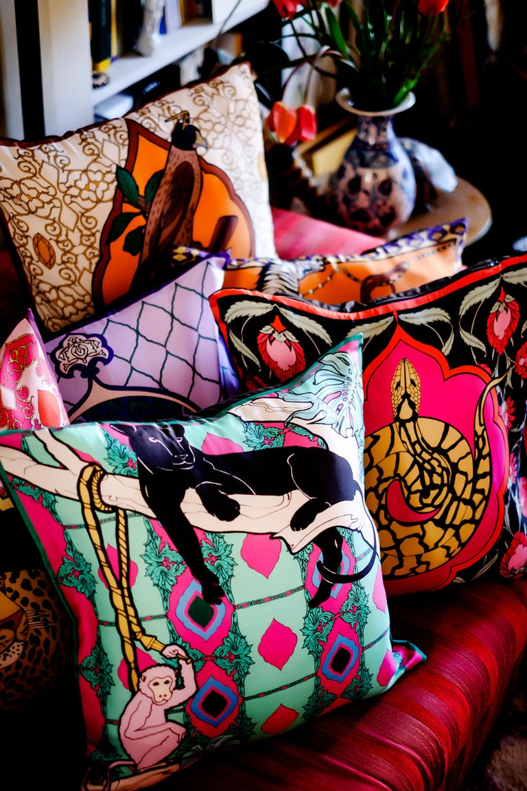 Contemporary Silk Panther Arabesque Pillow For Sale