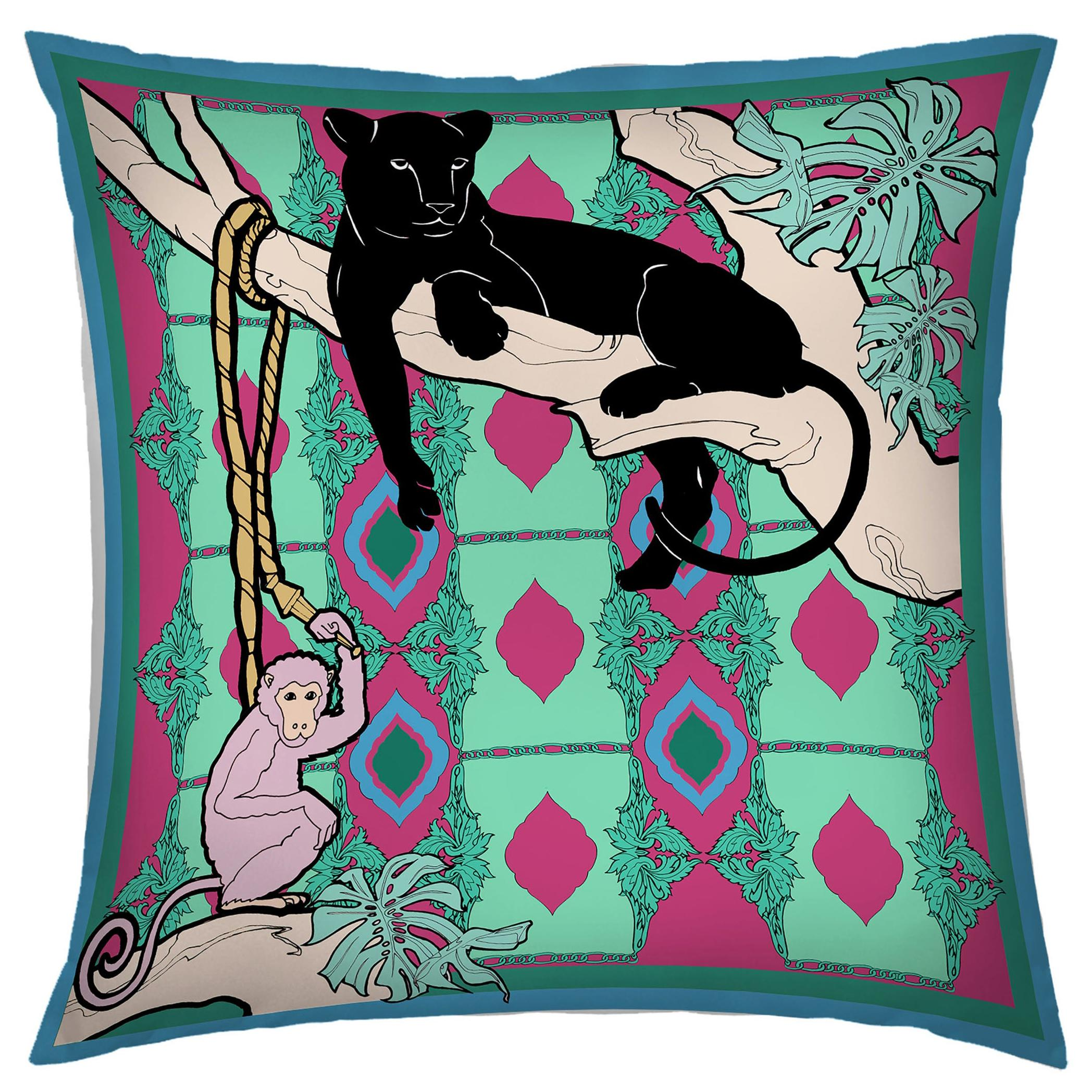 Silk Panther Arabesque Pillow