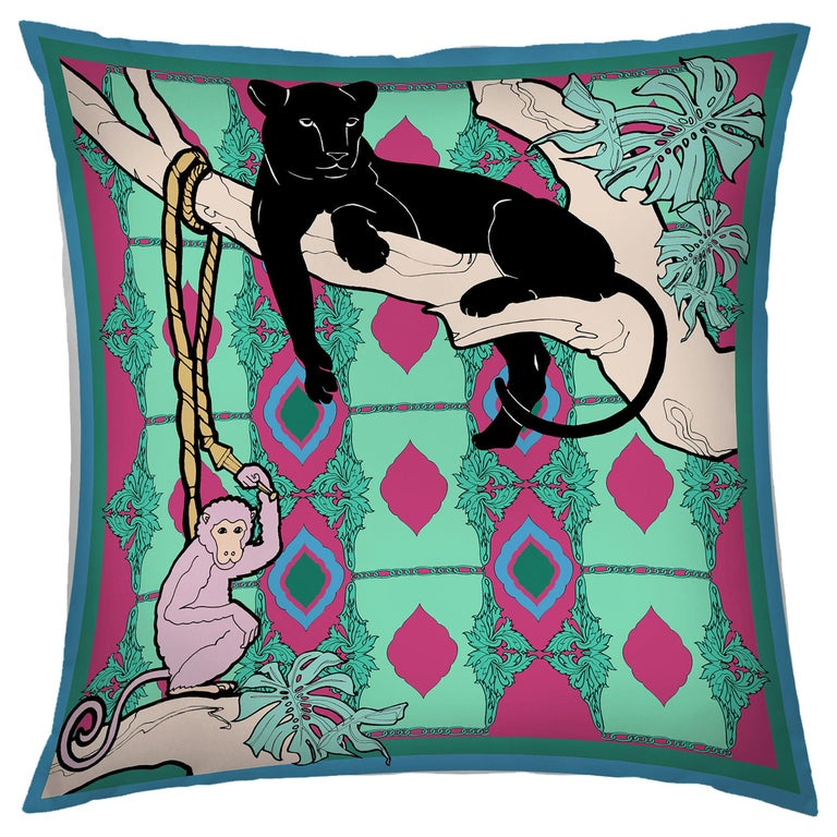 Silk Panther Arabesque Pillow For Sale