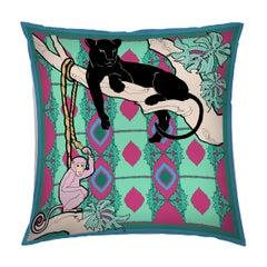 Silk Panther Arabesque Pillow