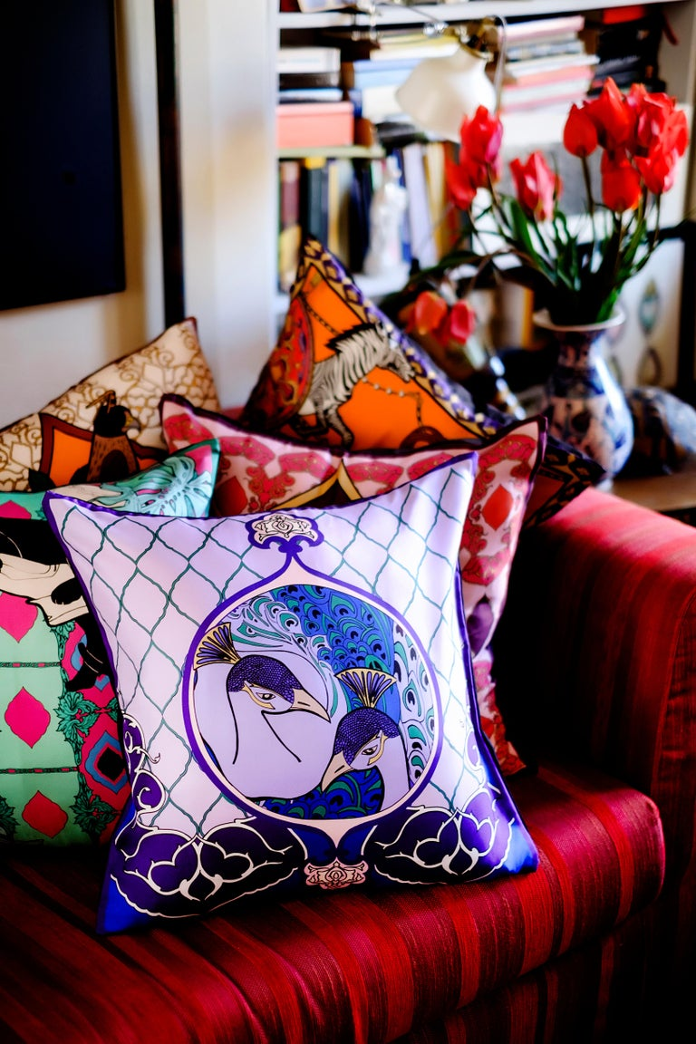 Other Silk Peacock Arabesque Pillow For Sale