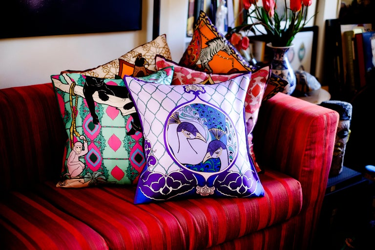 Italian Silk Peacock Arabesque Pillow For Sale