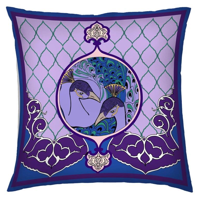 Silk Peacock Arabesque Pillow For Sale