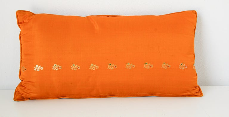Silk Pillow Custom Made from a Wedding Orange Sari, India For Sale 3