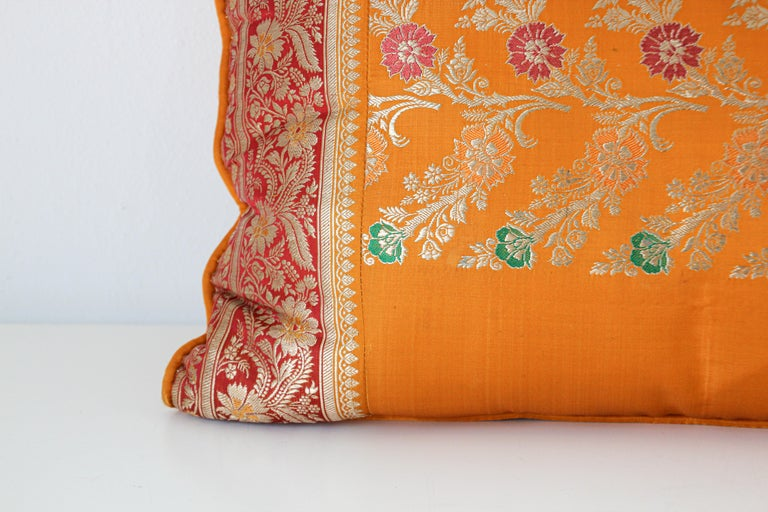 Custom made lumbar silk pillow made from a wedding silk sari in orange, fushia, gold and green colors.