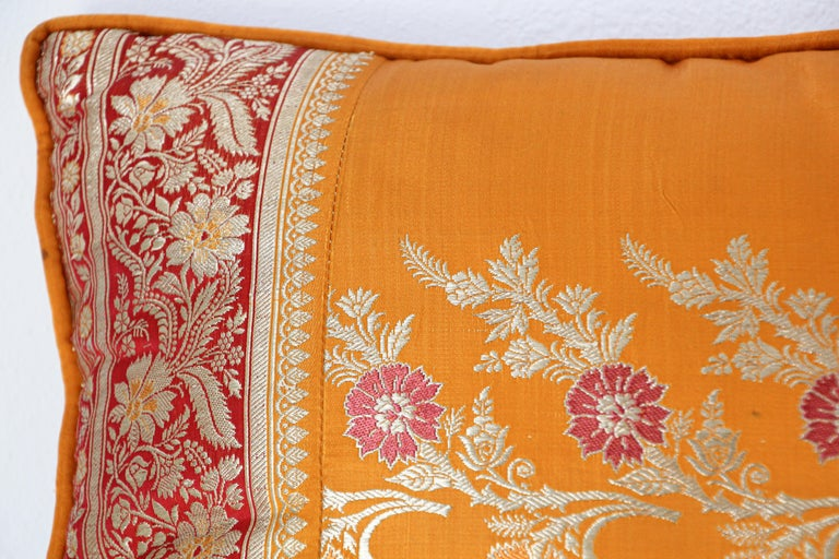 Anglo Raj Silk Pillow Custom Made from a Wedding Orange Sari, India For Sale