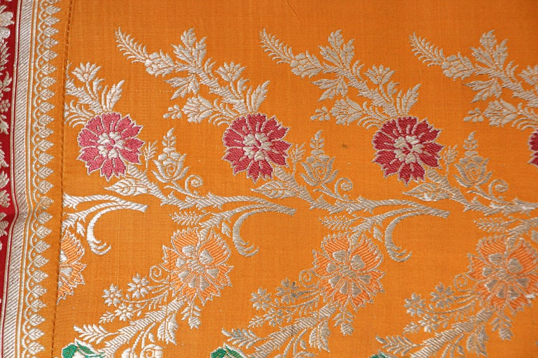 Indian Silk Pillow Custom Made from a Wedding Orange Sari, India For Sale