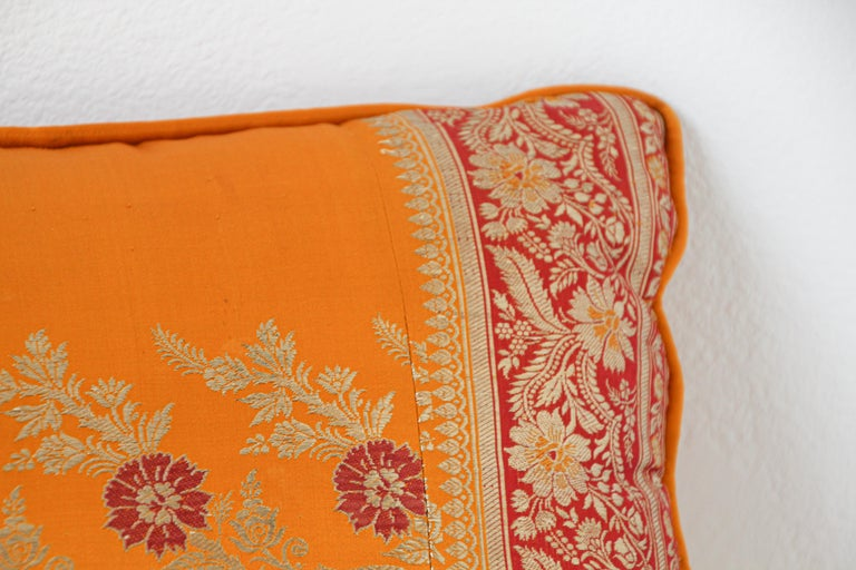 Silk Pillow Custom Made from a Wedding Orange Sari, India In Good Condition For Sale In North Hollywood, CA