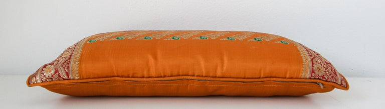 Late 20th Century Silk Pillow Custom Made from a Wedding Orange Sari, India For Sale