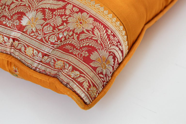 Silk Pillow Custom Made from a Wedding Orange Sari, India For Sale 1
