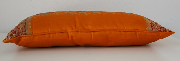 Silk Pillow Custom Made from a Wedding Orange Sari, India For Sale 2