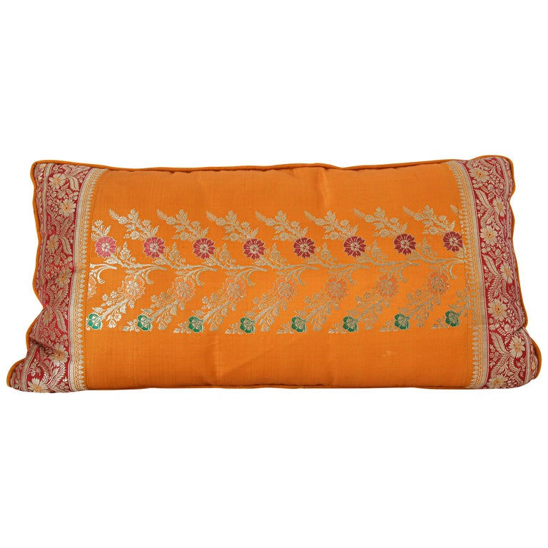 Silk Pillow Custom Made from a Wedding Orange Sari, India For Sale