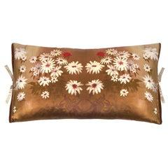 Silk Print Throw Pillow Golden Daisy