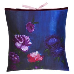 Silk Print Throw Pillow Inky Floral