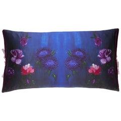 Silk Print Throw Pillow Inky Floral